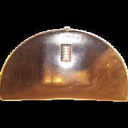 Art Deco vintage 1930's half moon chrome and leather clutch bag