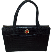 Vintage Manon  black alligator skin handbag