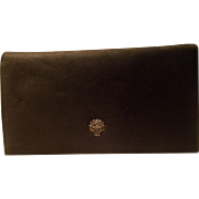 Vintage black suede 1930's Art Deco compact purse with silver Marcasite basket of roses to the front