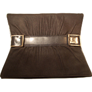 Beautiful Art Deco 1930's black leather suede and chrome clutch purse handbag