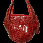 Vintage 1940's red alligator skin bucket handbag