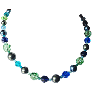 Shades of Blue and Green Swarovski Crystals and Swarovski simulated Pearls Necklace
