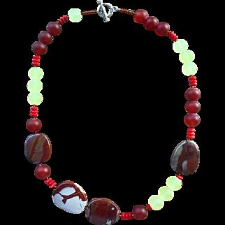 Noreena Jasper Carnelian Coral Prehnite Necklace