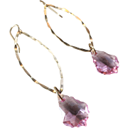 Pink Swarovski Crystal with Gold-filled hooks and oval hoop Earrings