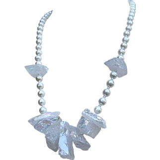Titanium-coated Mystic Quartz Crystal Mother-of-Pearl Necklace