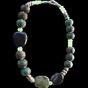 Green Peruvian Opal Imperial Jasper Prehnite Necklace