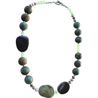 Green Peruvian Opal Imperial Jasper Prehnite Necklace