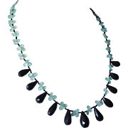 Faceted Black Onyx and Aqua Chalcedony Briolettes Necklace