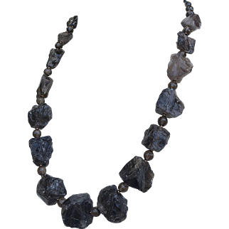 Smoky Quartz Rough Nuggets Statement Necklace