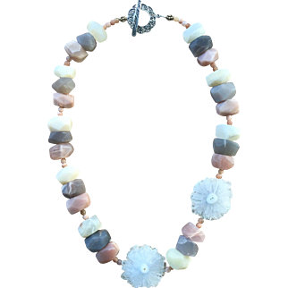 Rainbow Sunstone with White Solar Stalactite slab Necklace