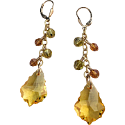 Shades of Yellow Swarovski Crystal Cluster Earrings