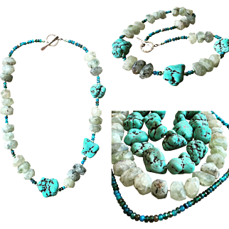 Green Turquoise Tourmalinated Quartz Apatite Nugget Necklace