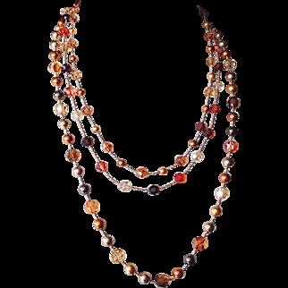 Triple Strand Swarovski Crystals and Swarovski simulated Pearls Necklace