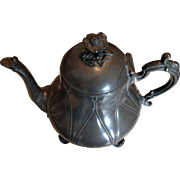 Antique 1850-1890's English Pewter 4 Footed Tea Pot Marked P. A. & S 525