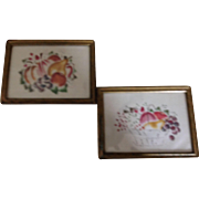 Beautiful Pair Of Antique Theorams Framed, Fruit, Lovely Gold Leaf Frames, The Gold Leaf Has Worn Off In Places