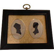 Vintage Silhouette Of A Man & Woman In A Black Frame With Gold Tone Matt