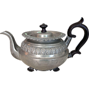 Lovely Mid 19 th Century Pewter Footed Tea Pot With Black Knob & Wooden Handle