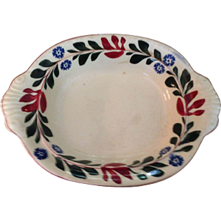 Antique Adams Titan Ware Tunstall Dish, Vibrant Red, Green & Blue Flowers & Leaves