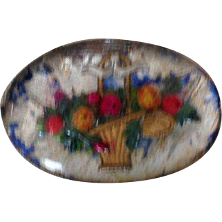 Vintage Silver Tone Hand Painted Pin, Basket With Flowers