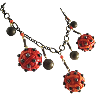 Vintage French Orange Surrealist Ball and Chain Bib Necklace