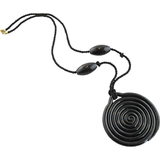 French  Black Swirl Necklace