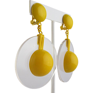 1960's Space Age Mod  Lucite Earrings