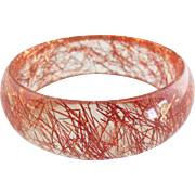 Vintage French Clear Lucite Copper Confetti Bangle