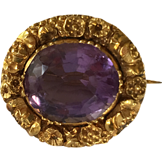 Antique late Georgian 15ct Gold Amethyst Pendant Brooch c. 1830