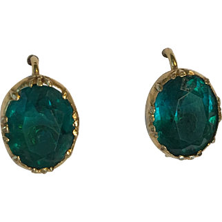 Antique Victorian 12ct Gold Emerald Paste Earrings