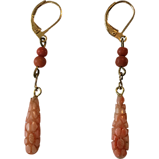 Antique Victorian Carved Coral Drop Earrings