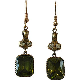 Rare Antique Georgian Green Foiled Paste Fob Seal Pendant Drop Earrings w/ 9ct gold hooks