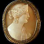 Stunning Rare Antique Victorian Large Shell Hera Cameo Brooch