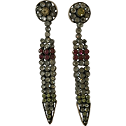 Stunning Antique Edwardian Silver Vauxhall Glass and Coloured Paste Drop Earrings