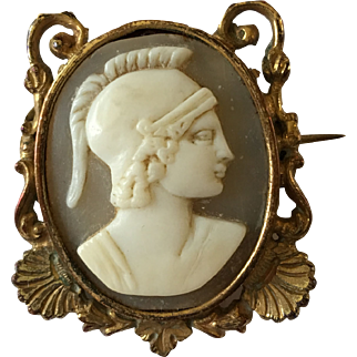 Antique Late Georgian Gilt Roman Soldier Cameo Brooch