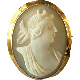Antique Victorian Large 9ct Gold Artemis Diana Cameo Pendant Brooch