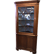Federal 19th C Chippendale Mahogany Corner Cabinet