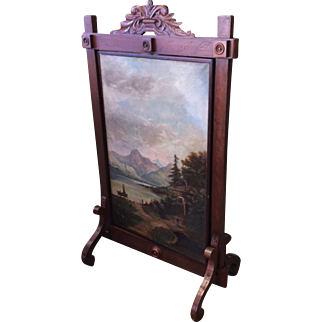 Carved Walnut Firescreen with 2 Rotating Oil Paintings