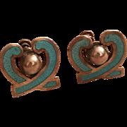 Vintage Margot De Taxco Blue Enamel Sterling Silver Screw Back Earrings