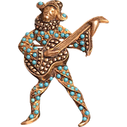 Vintage Sterling Silver Gilt Marcasite & Faux Turquoise Bead Minstrel Guitar Musician Brooch