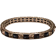 Vintage Art Deco Sterling Silver Blue & Clear Paste Channel Set Rhinestone Hinged Bangle Bracelet