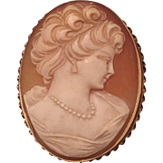 Vintage Large 14k Yellow Gold Carved Shell Cameo Pendant Brooch