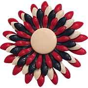 Vintage Patriotic Red, White & Blue Enamel Metal Flower Brooch