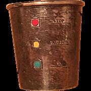 Vintage Sterling Silver Alvin Enamel Traffic Light Stop Caution Go Shot Jigger
