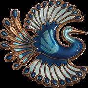 Vintage David Andersen Norway Sterling Silver Blue Enamel Bird of Paradise Brooch