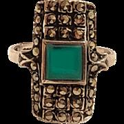 Vintage Sterling Silver Chrysoprase & Marcasite Ring