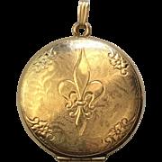 Vintage Danecraft Fleur de Lis Gold Filled Locket