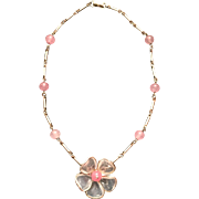 Vintage Crown Trifari Poured Glass Flower & Pink Bead Choker Necklace