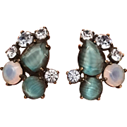 Vintage Elsa Schiaparelli Striped Blue & Opalescent Rhinestone Clip On Earrings