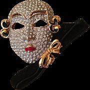 Vintage Ugo Correani Enamel & Rhinestone Mask Brooch