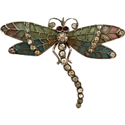 Antique Art Nouveau Plique a Jour Enamel & Paste Dragonfly Brooch